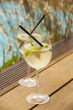 Hugo prosecco elderflower soda ice summer drink Royalty Free Stock Image
