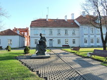 Hugo Scheu statue and Manor House, Lithuania Stock Photo