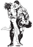 Hugs. Bodybuilder hugs beautiful girl Royalty Free Stock Images