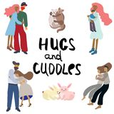 Hugs and cuddles people and animals. Hugs and cuddle people and animals vector illustration on white background. Handwritten note hugs and cuddle royalty free illustration
