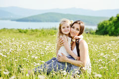 Hugs in field Royalty Free Stock Images