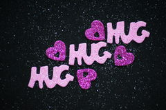 Hugs, hearts and glitter. Royalty Free Stock Photos