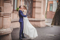Hugs kiss wedding. City smile Stock Photography