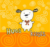 Hugs and kisses greeting card with cute puppy Royalty Free Stock Photography