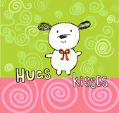 Hugs and kisses greeting card with cute puppy Stock Photo