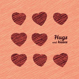 'Hugs and Kisses' Happy Valentine's Day Love Card. Greeting Card with hearts. Royalty Free Stock Images