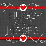 Hugs and kisses red hearts in love Valentine`s day card Royalty Free Stock Photos