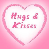 Hugs And Kisses Represents Find Love And Dating. Hugs And Kisses Showing Find Love And Dating Royalty Free Stock Photography