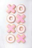 Hugs and kisses shaped Valentine cookies Royalty Free Stock Photo