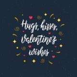 Hugs, kisses, Valentine`s wishes hand written modern brush lettering inscription.  Royalty Free Stock Image