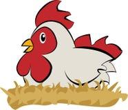 Huhn auf den Nestern Flaches Design der Vektorillustration stock abbildung