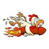 Huhn auf der Rakete Stockbild