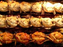 Huhn auf einem Spucken Stockfotos
