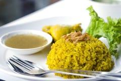 Huhn Biryani mit grünem Chutney Stockfotos