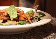 Huhn Confit Salat auf weißer Platte Lizenzfreie Stockbilder