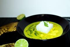 Huhn in der Kokosnusssoße mit Gewürzen Schüssel Hühnercurry in einer sahnigen Soße Gelber Curry des Huhns lizenzfreie stockfotografie