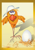 Huhn in einem Hut lizenzfreie abbildung