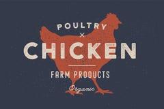 Huhn, Geflügel Plakat für SchlächtereiMetzgerei stock abbildung