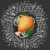 Huhn gegrillte Bein-Vektor-Ikone, auf schwarzem Hintergrund mit Grüns und Zwiebel Geschmackvolles saftiges Huhn gebratenes Bein lizenzfreie abbildung