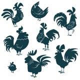 Huhn, Henne, Hähne eingestellt Geflügel vector Sammlungsschattenbilder stock abbildung