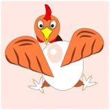 Huhn, Henne oder Hahn mit großem Ei Ikone, Logo oder Zeichen für Verpackungsgestaltung von eco biologischem Lebensmittel von Eier Lizenzfreie Stockfotografie