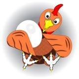 Huhn, Henne oder Hahn mit großem Ei Ikone, Logo oder Zeichen für Verpackungsgestaltung von eco biologischem Lebensmittel von Eier Stockbild
