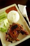 Huhn Lalapan - gegrilltes Huhn u. roher Salat stockbild