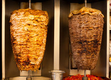 Huhn-Lamm Shawerma Schnellimbiss-Fleisch lizenzfreies stockfoto