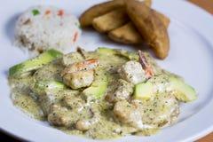 Huhn mit Basilikum, Avocado-Garnele, Garnele Sauced Lizenzfreie Stockfotografie