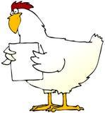 Huhn mit einem Zeichen Stockbild