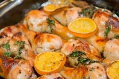 Huhn mit Orange und Senf lizenzfreie stockfotos