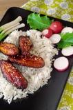 Huhn mit Reis mit Gemüse Lizenzfreies Stockbild
