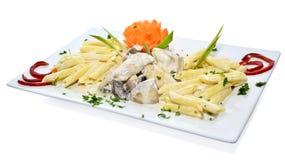 Huhn mit Teigwaren Lizenzfreie Stockfotos