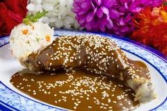 Huhn-Mole-Mexikaner-Teller Stockfoto