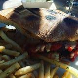 Huhn-parm panini mit Fischrogen Stockbilder