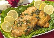 Huhn-piccata für zwei Stockfoto