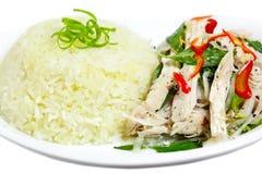 Huhn-Reis-Teller Stockfotos