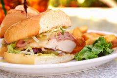 Huhn-Schnur-Blau-Sandwich Stockfotografie