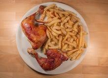 Huhn und Chips Stockfotos