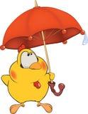 Huhn und eine Regenschirmkarikatur stock abbildung
