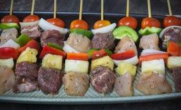 Huhn- und Rindfleisch BBQ Stockbilder