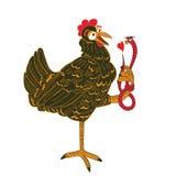 Huhn und Wurm mit Herzen Lizenzfreie Stockbilder