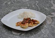 Huhnverkleidung mit Reis Lizenzfreie Stockfotos