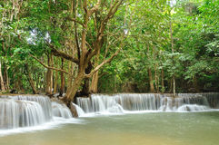 Hui Mea Khamin Waterfall, Kanchanabury, Thailand Royalty Free Stock Photos