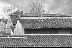 Hui style architecture. Old Hui style architectures in black and white stock photos