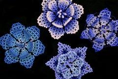 Huichol blauwe bloemen Stock Foto