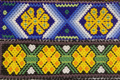 Huichol design. Handicrafts by Huichol indians, State of Jalisco, Mexico