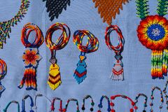 Huichol handicraft pieces, inhabit the north of Jalisco and part of Nayarit, Zacatecas and Durango Mexico. The Huichols are indigenous Mexicans, live in royalty free stock images