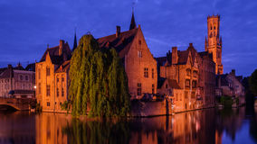 Huidenvetters plein and Dijver canal, Bruges, Belgium Stock Photo