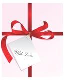 Huidig, rood lint, kaart met Liefde Royalty-vrije Stock Afbeelding